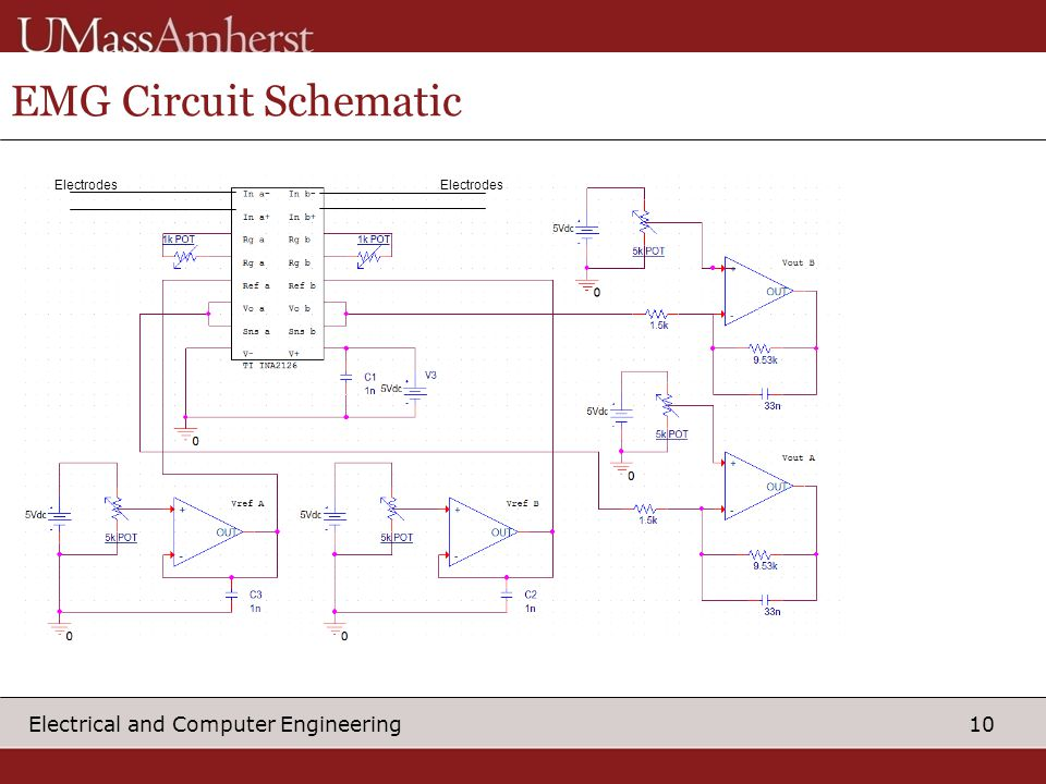 10 Electrical and Computer Engineering EMG Circuit Schematic Electrodes