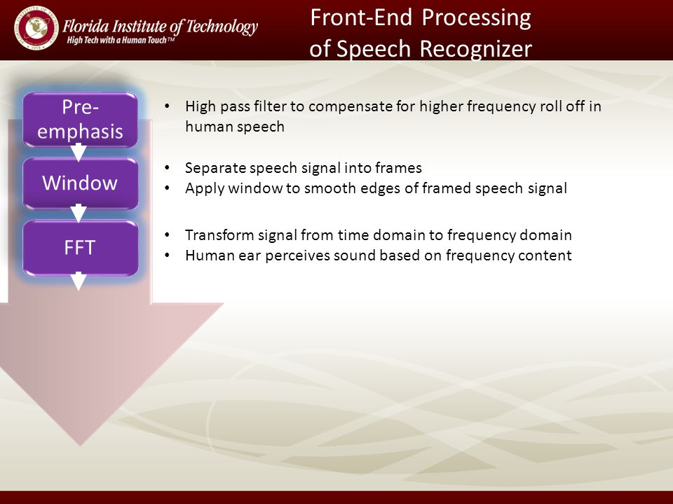 Front-End Processing of Speech Recognizer Pre- emphasis Window FFT High pass filter to compensate for higher frequency roll off in human speech Separate speech signal into frames Apply window to smooth edges of framed speech signal Transform signal from time domain to frequency domain Human ear perceives sound based on frequency content
