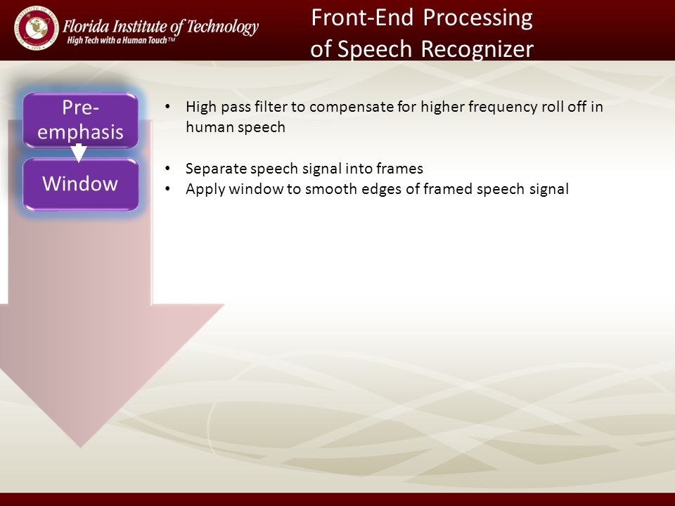 Front-End Processing of Speech Recognizer Pre- emphasis Window High pass filter to compensate for higher frequency roll off in human speech Separate speech signal into frames Apply window to smooth edges of framed speech signal