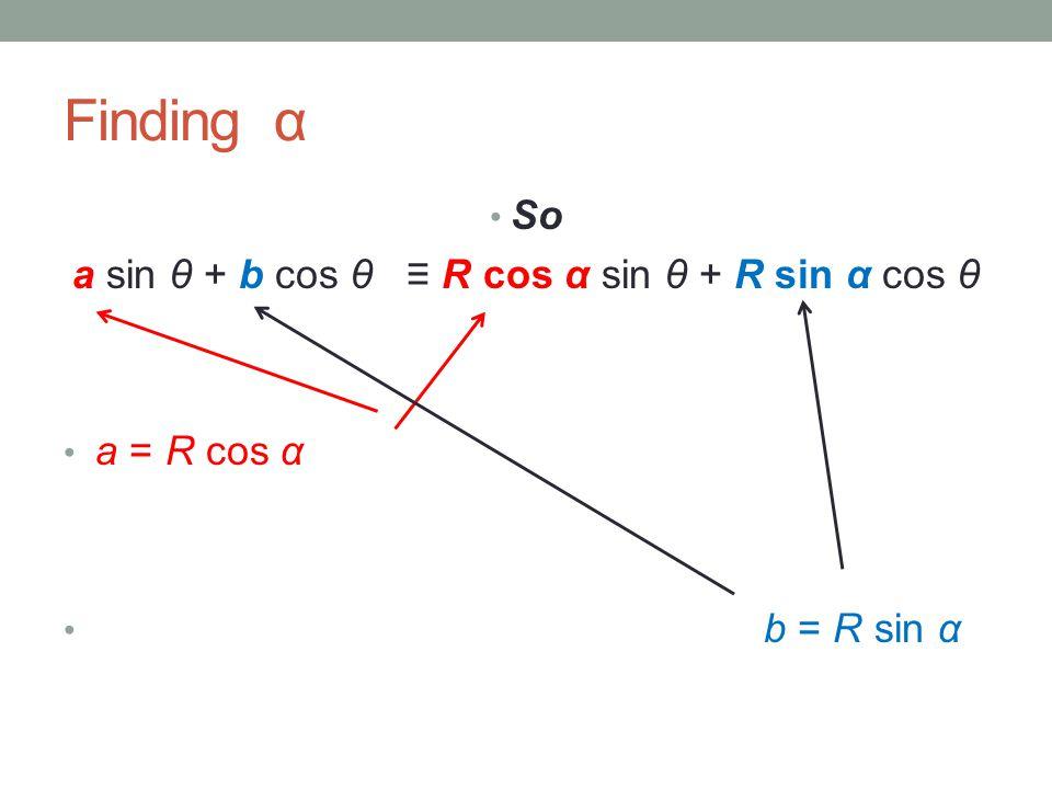 Finding α So a sin θ + b cos θ ≡ R cos α sin θ + R sin α cos θ a = R cos α b = R sin α