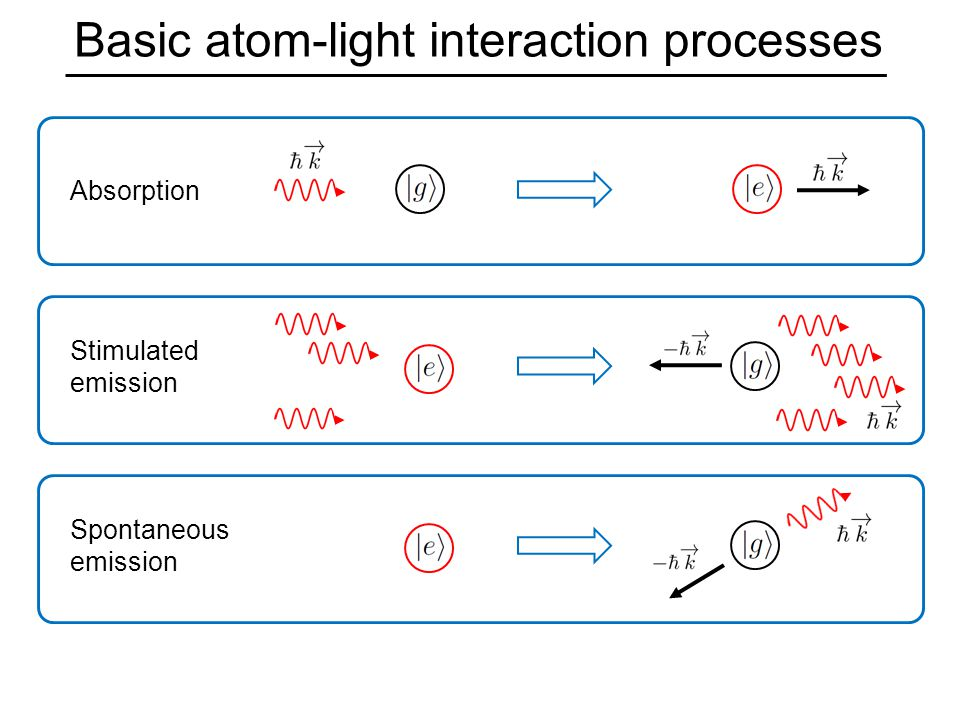 Basic atom-light interaction processes Absorption Stimulated emission Spontaneous emission