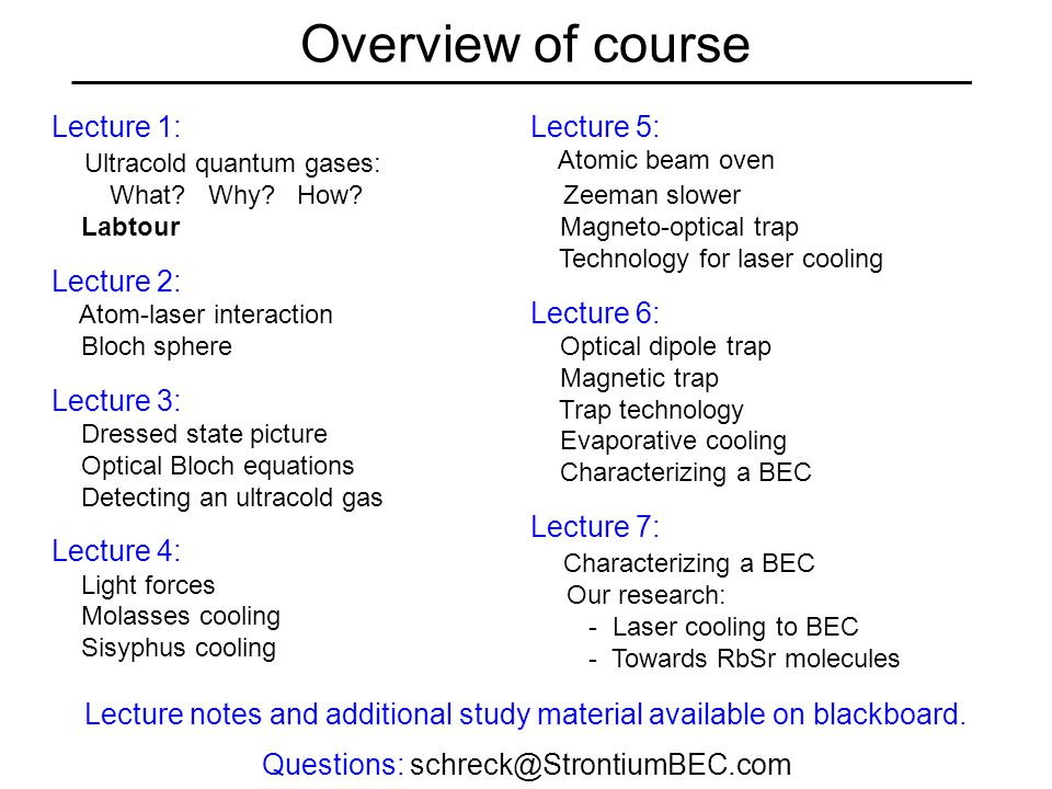 Overview of course Lecture 1: Ultracold quantum gases: What.