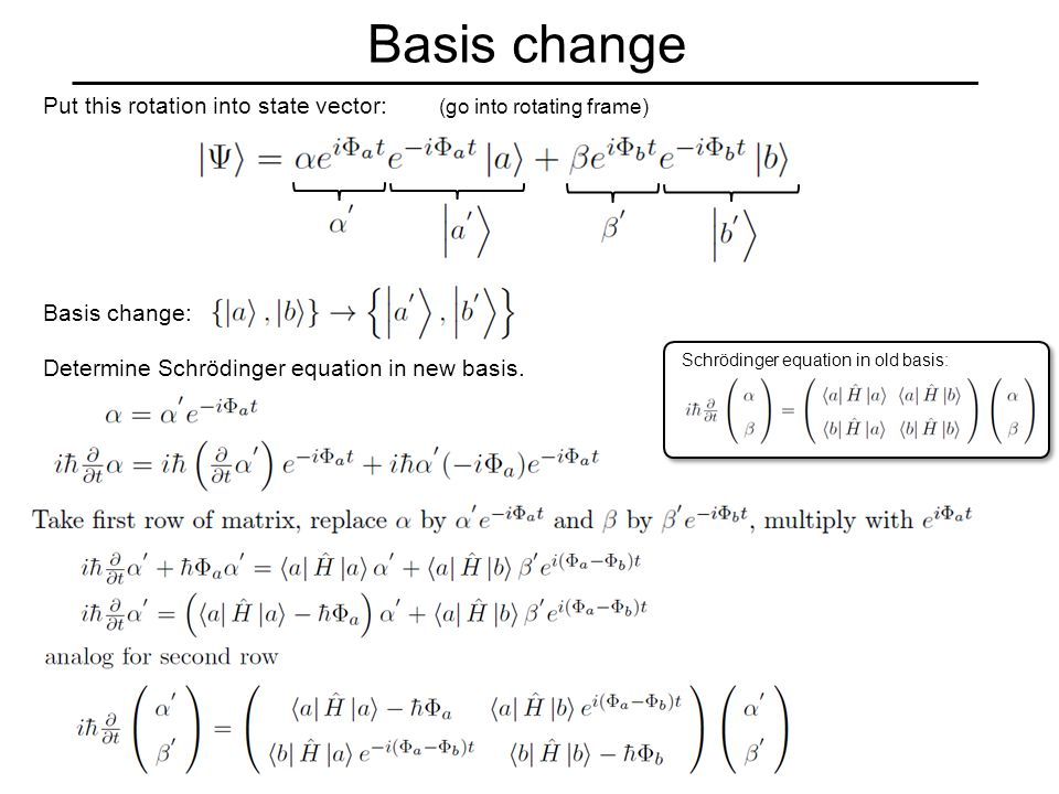 Basis change Basis change: Determine Schrödinger equation in new basis.