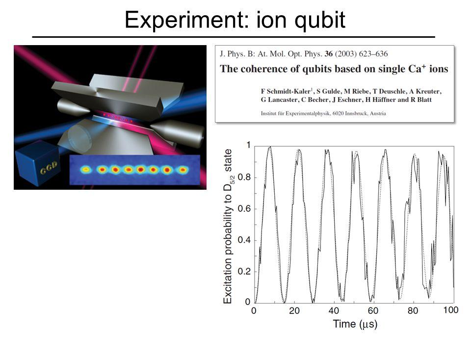Experiment: ion qubit