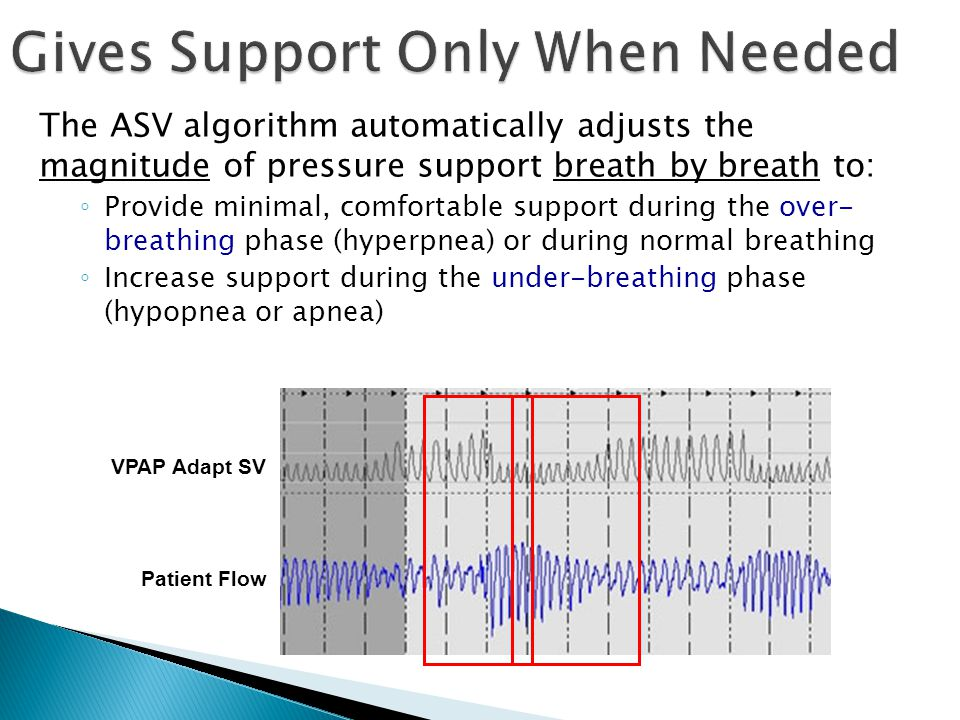 The ASV algorithm automatically adjusts the magnitude of pressure support breath by breath to: ◦ Provide minimal, comfortable support during the over-