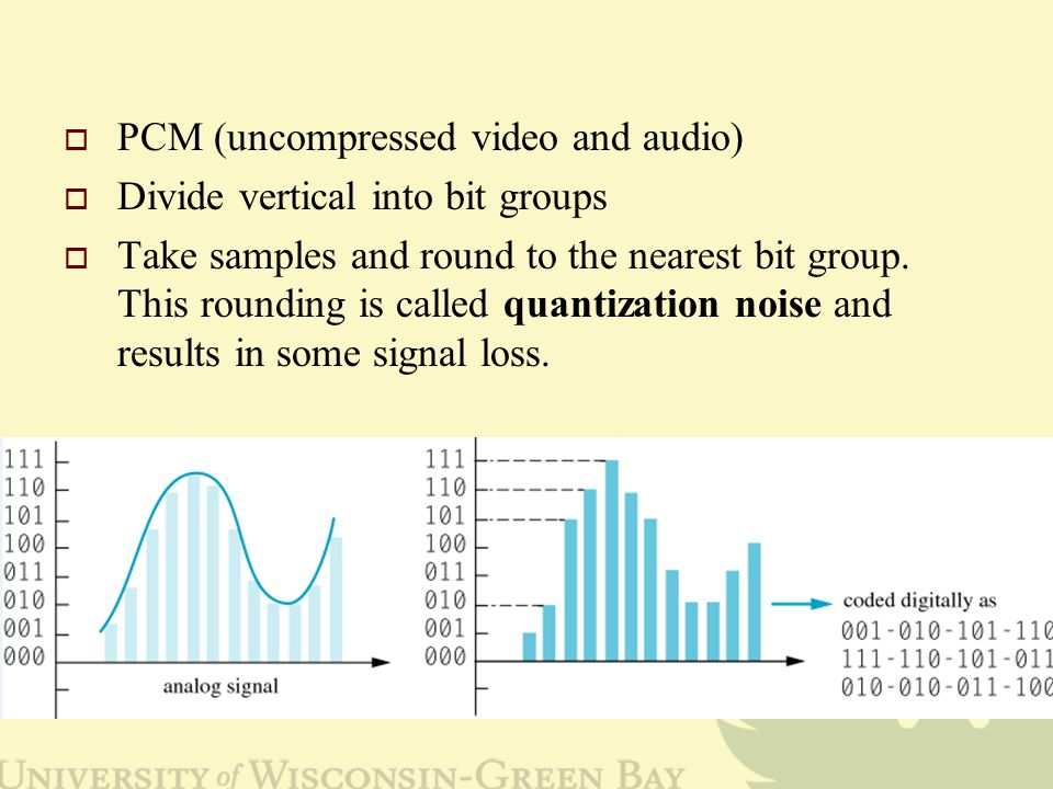  PCM (uncompressed video and audio)  Divide vertical into bit groups  Take samples and round to the nearest bit group.