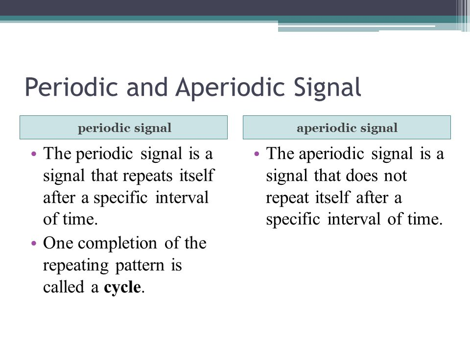 Periodic and Aperiodic Signal periodic signalaperiodic signal The periodic signal is a signal that repeats itself after a specific interval of time.