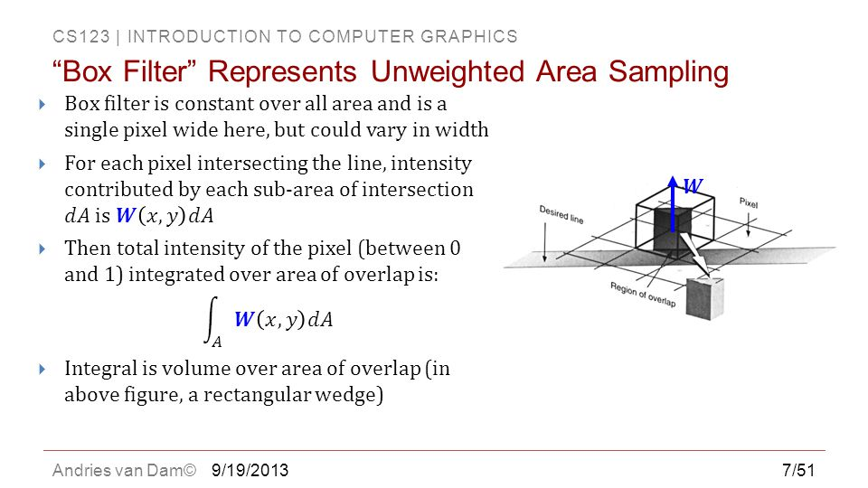 "CS123 | INTRODUCTION TO COMPUTER GRAPHICS Andries van Dam©9/19/2013 ""Box Filter"" Represents Unweighted Area Sampling 7/51"