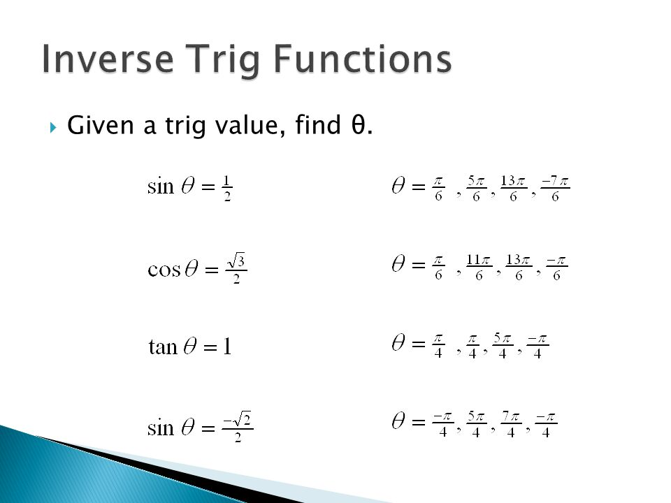  Given a trig value, find θ.