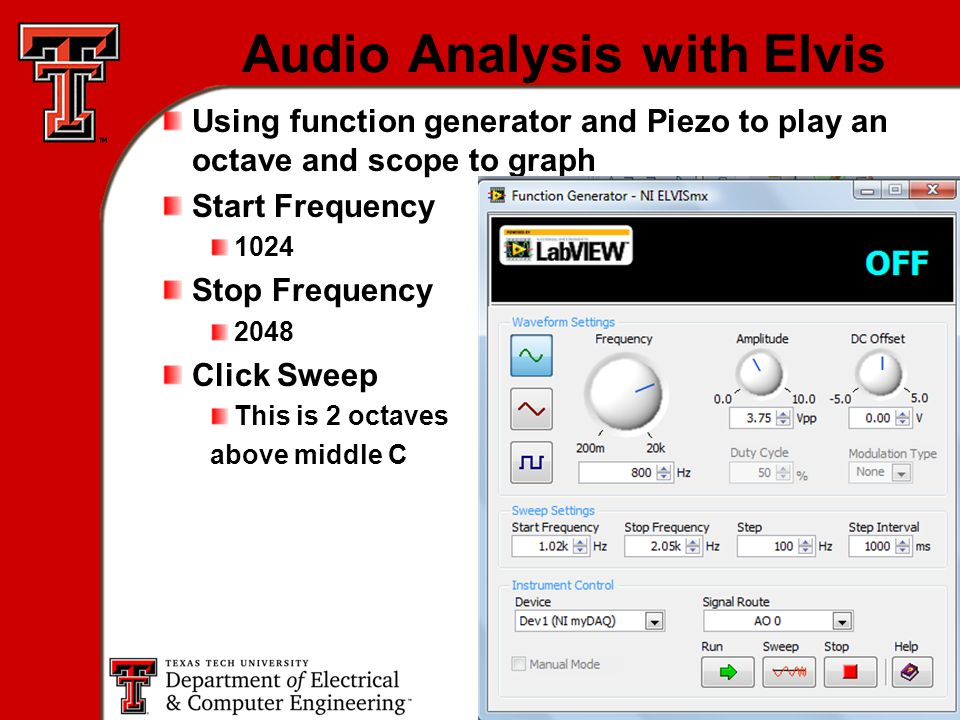 16 Audio Analysis with Elvis Using function generator and Piezo to play an octave and scope to graph Start Frequency 1024 Stop Frequency 2048 Click Sweep This is 2 octaves above middle C