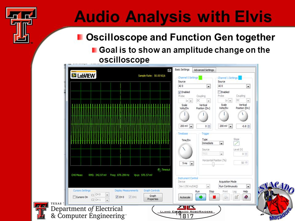 19 Audio Analysis with Elvis Oscilloscope and Function Gen together Goal is to show an amplitude change on the oscilloscope
