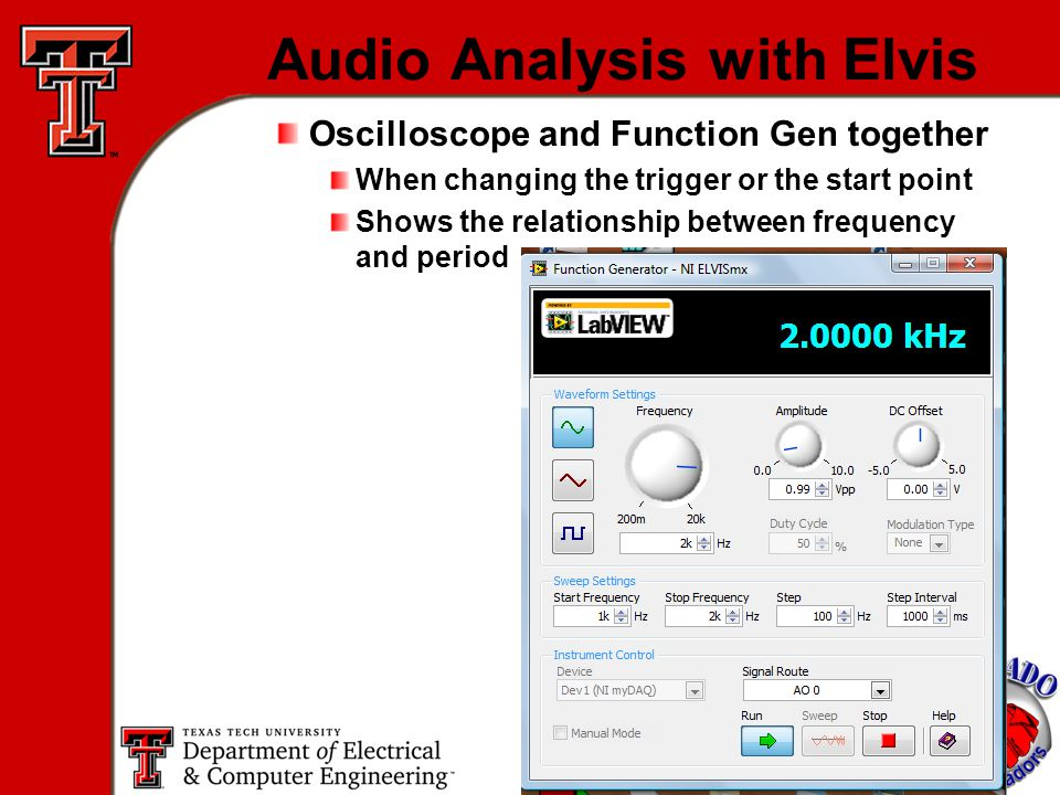 20 Audio Analysis with Elvis Oscilloscope and Function Gen together When changing the trigger or the start point Shows the relationship between frequency and period