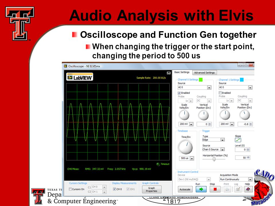 21 Audio Analysis with Elvis Oscilloscope and Function Gen together When changing the trigger or the start point, changing the period to 500 us