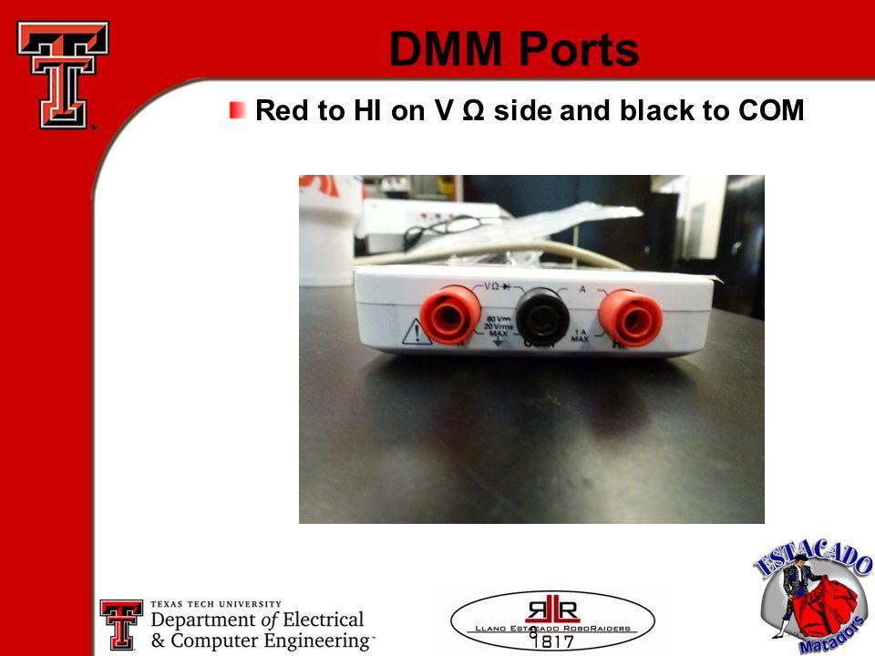 8 DMM Ports Red to HI on V Ω side and black to COM