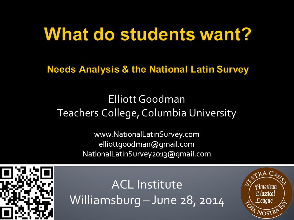  Your sine quā non  Needs Analysis  National Latin Survey background  National Latin Survey results  Reactions  What do your students want.