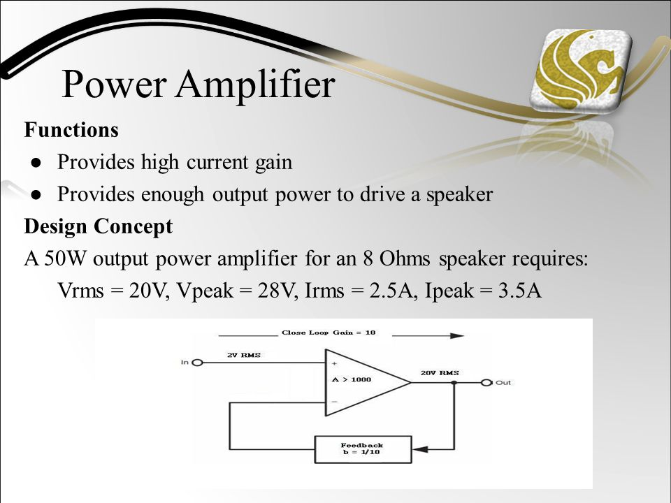 Power Amplifier Functions ●Provides high current gain ●Provides enough output power to drive a speaker Design Concept A 50W output power amplifier for an 8 Ohms speaker requires: Vrms = 20V, Vpeak = 28V, Irms = 2.5A, Ipeak = 3.5A