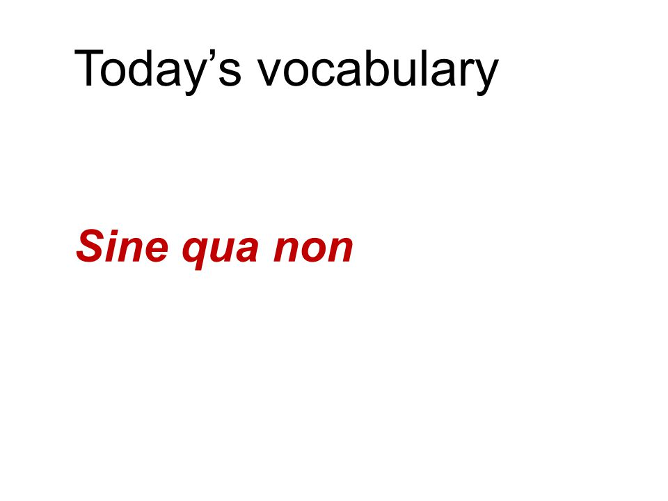 """Today's vocabulary Sine qua non """"Without which [there is] nothing"""" Indispensible, essential, must-have"""