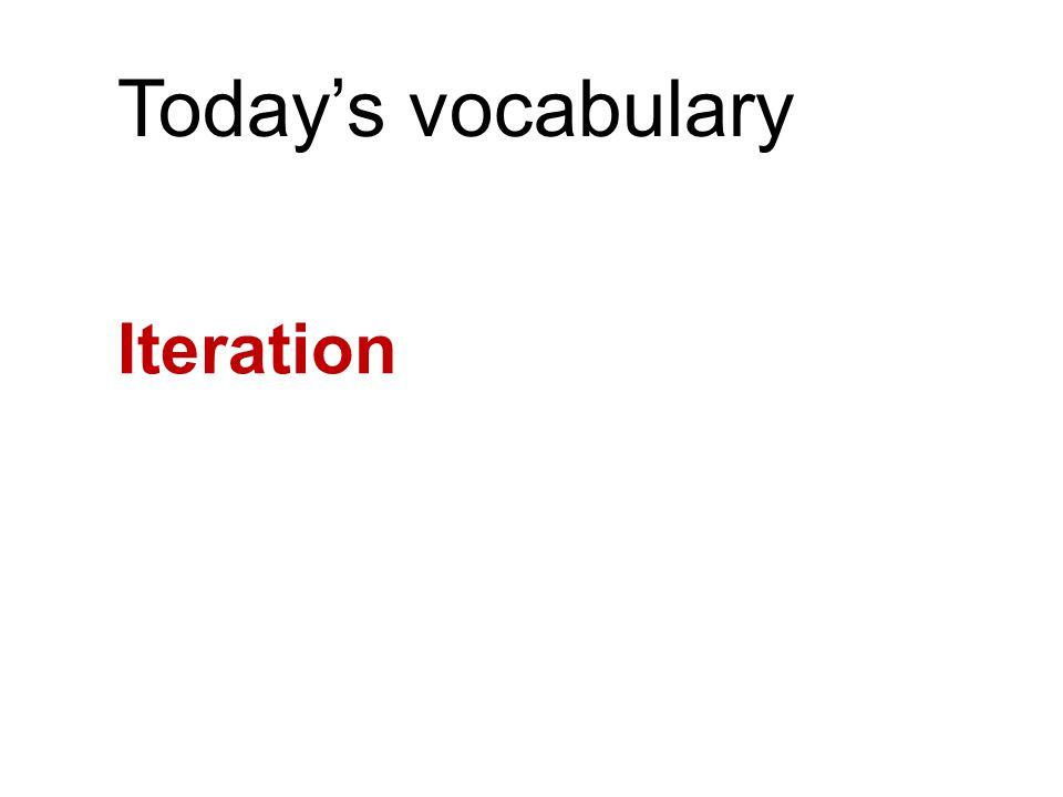 Today's vocabulary Iteration