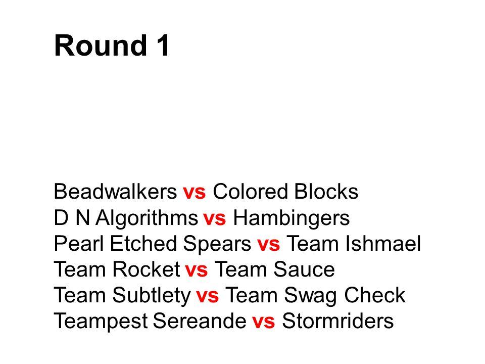Round 1 Beadwalkers vs Colored Blocks D N Algorithms vs Hambingers Pearl Etched Spears vs Team Ishmael Team Rocket vs Team Sauce Team Subtlety vs Team