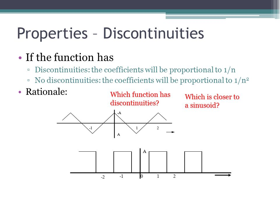 Properties – Discontinuities If the function has ▫Discontinuities: the coefficients will be proportional to 1/n ▫No discontinuities: the coefficients will be proportional to 1/n 2 Rationale:12 -A A A012 -2 Which is closer to a sinusoid.