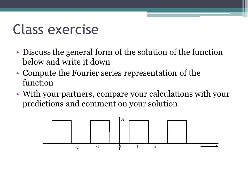 Class exercise Discuss the general form of the solution of the function below and write it down Compute the Fourier series representation of the function With your partners, compare your calculations with your predictions and comment on your solutionA012 -2