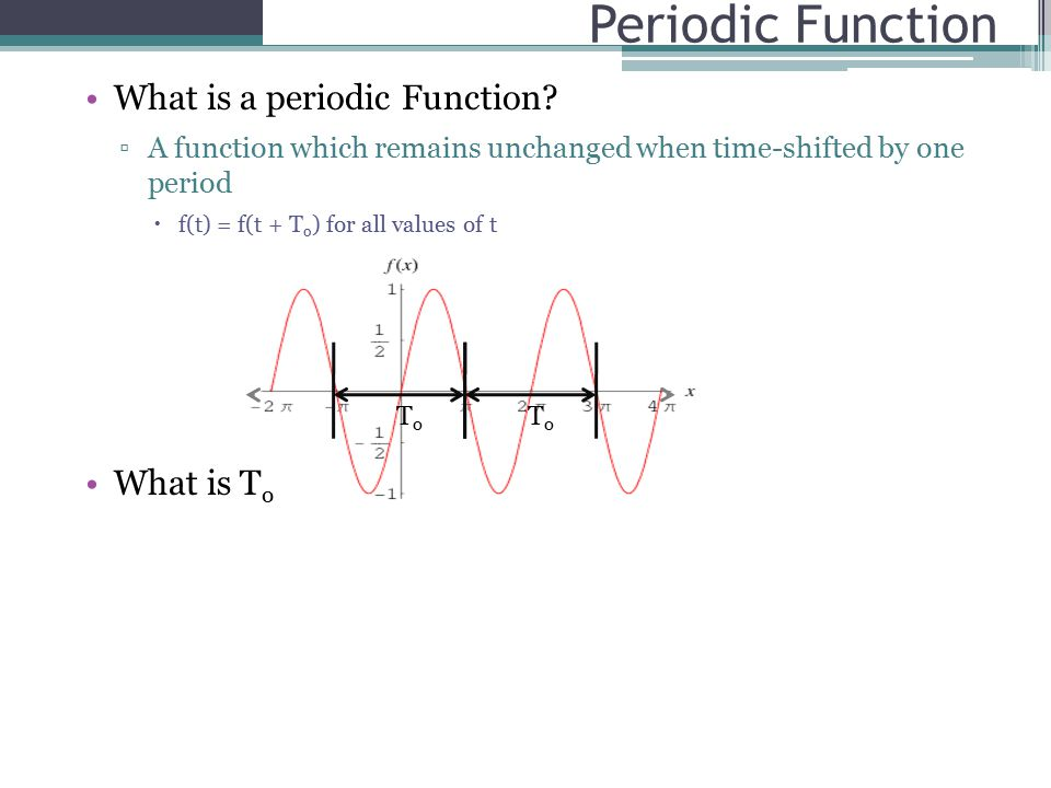 Periodic Function What is a periodic Function.