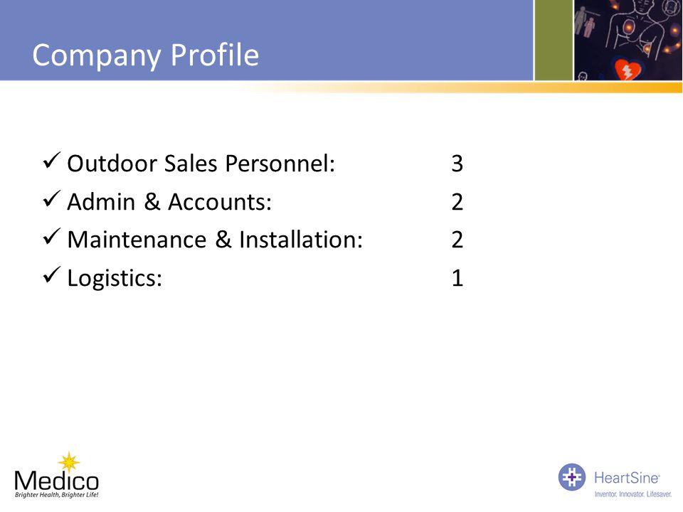 Company Profile Outdoor Sales Personnel: 3 Admin & Accounts:2 Maintenance & Installation:2 Logistics:1