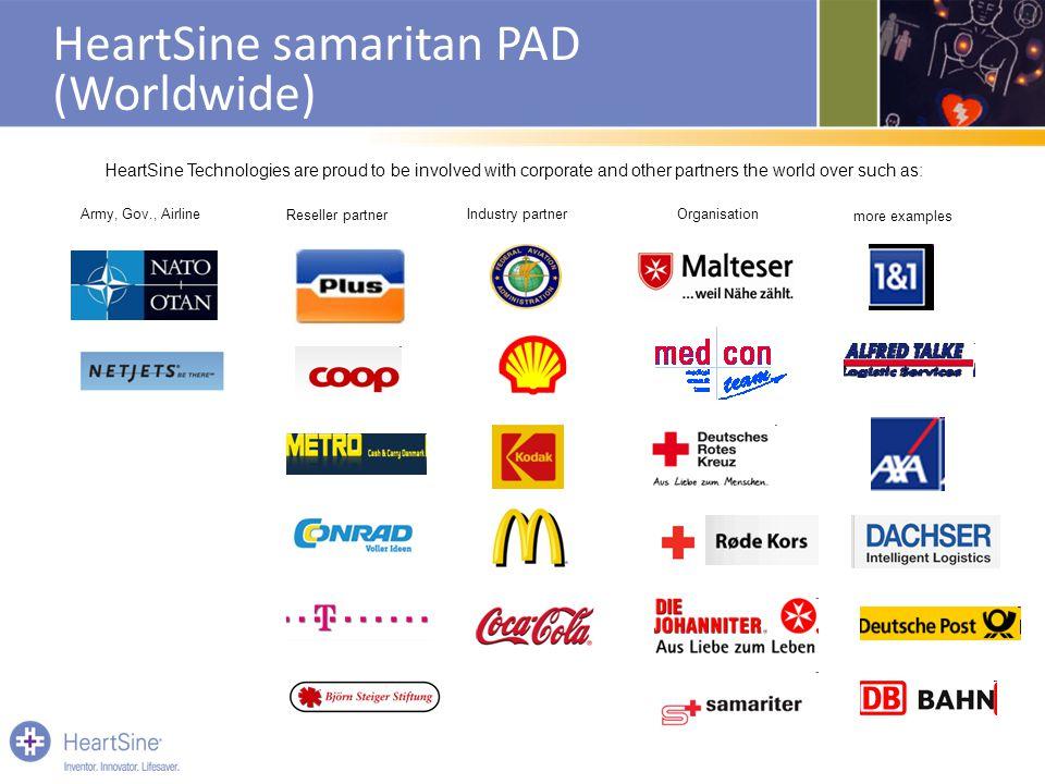HeartSine samaritan PAD (Worldwide) Army, Gov., Airline Reseller partner Industry partnerOrganisation more examples HeartSine Technologies are proud t