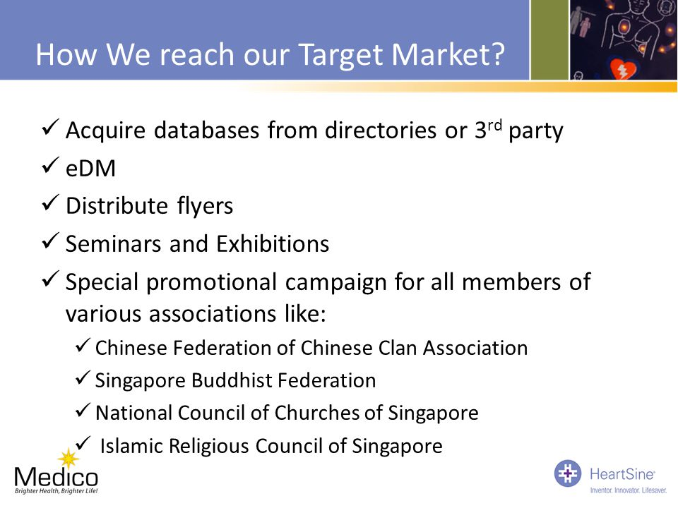 How We reach our Target Market? Acquire databases from directories or 3 rd party eDM Distribute flyers Seminars and Exhibitions Special promotional ca