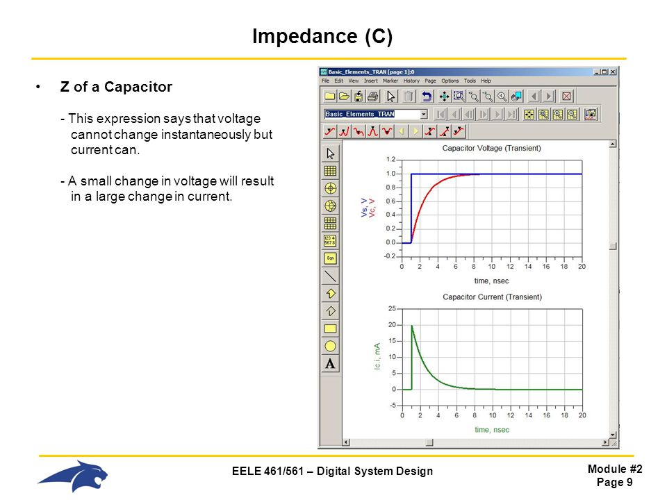 EELE 461/561 – Digital System Design Module #2 Page 20 Impedance (L) Z of an Inductor Time Domain - if we look at the impedance of an inductor in the time domain, we first remember that impedance is always V/I - this expression that says: 1) when dI/dt is small (or DC), the inductor impedance is LOW 2) when dI/dt is large (or High Frequency), the inductor impedance is HIGH - we conceptually say: 1) At DC, an inductor looks like a SHORT.