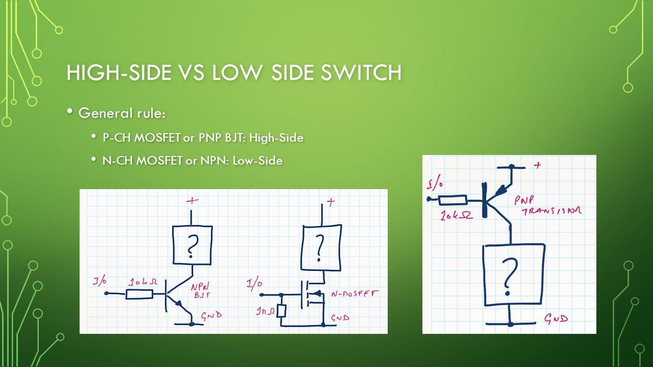 HIGH-SIDE VS LOW SIDE SWITCH General rule: General rule: P-CH MOSFET or PNP BJT: High-Side P-CH MOSFET or PNP BJT: High-Side N-CH MOSFET or NPN: Low-Side N-CH MOSFET or NPN: Low-Side