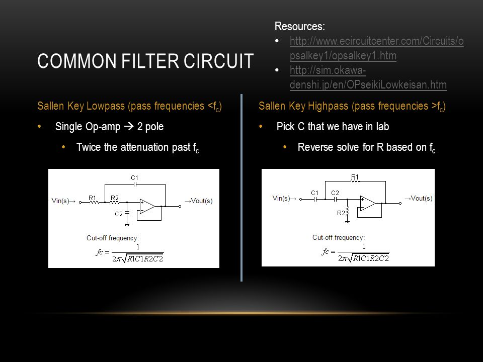 Pick C that we have in lab Reverse solve for R based on f c Single Op-amp  2 pole Twice the attenuation past f c COMMON FILTER CIRCUIT Sallen Key Lowpass (pass frequencies <f c )Sallen Key Highpass (pass frequencies >f c ) Resources: http://www.ecircuitcenter.com/Circuits/o psalkey1/opsalkey1.htm http://www.ecircuitcenter.com/Circuits/o psalkey1/opsalkey1.htm http://sim.okawa- denshi.jp/en/OPseikiLowkeisan.htm http://sim.okawa- denshi.jp/en/OPseikiLowkeisan.htm