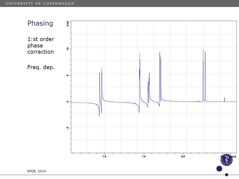 Phasing 1:st order phase correction Freq. dep. NTDR, 2014