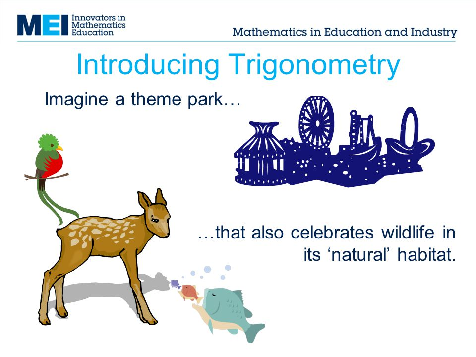 Introducing Trigonometry Imagine a theme park… …that also celebrates wildlife in its 'natural' habitat.