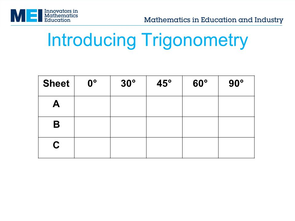 Introducing Trigonometry Sheet0°30°45°60°90° A B C