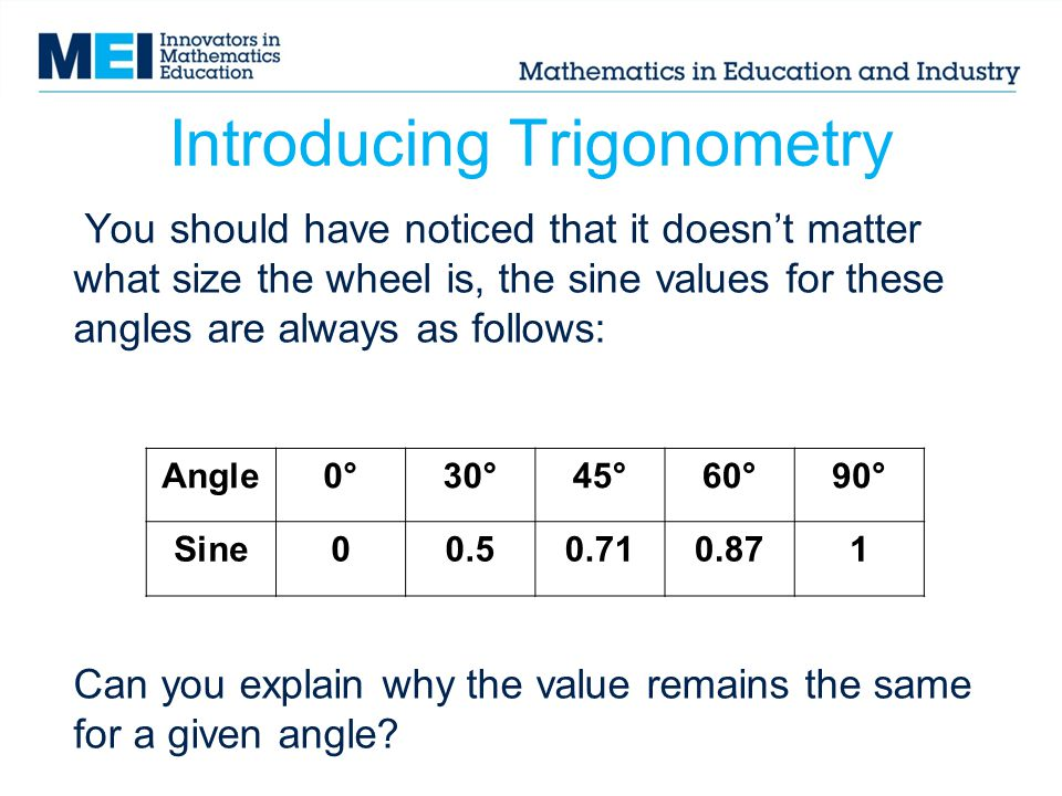 Introducing Trigonometry Angle0°30°45°60°90° Sine00.50.710.871 You should have noticed that it doesn't matter what size the wheel is, the sine values