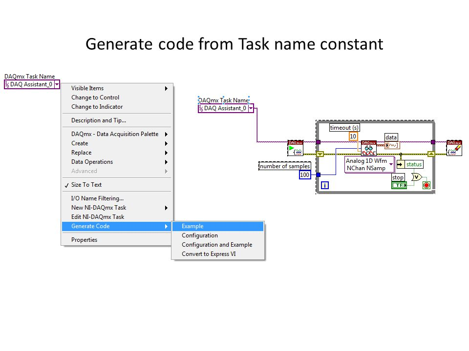 Generate code from Task name constant
