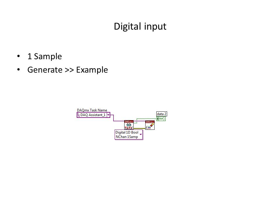 Digital input 1 Sample Generate >> Example