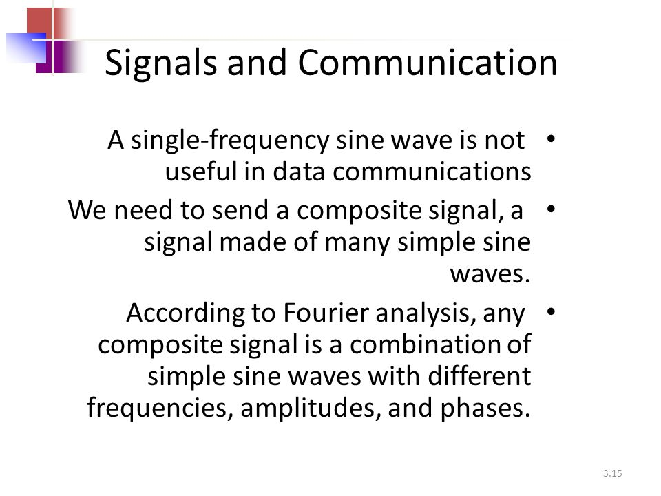3.15 Signals and Communication A single-frequency sine wave is not useful in data communications We need to send a composite signal, a signal made of
