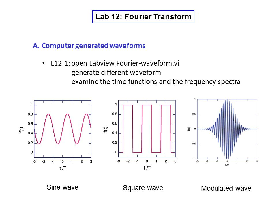Lab 12: Fourier Transform A. Computer generated waveforms L12.1: open Labview Fourier-waveform.vi generate different waveform examine the time functio