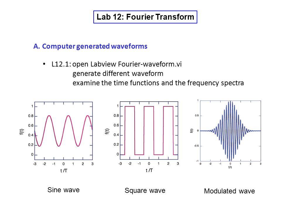 Lab 12: Fourier Transform A.