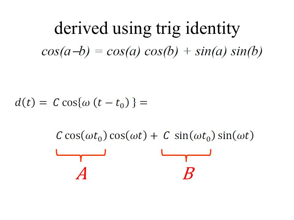 derived using trig identity AB