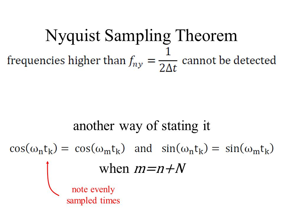 Nyquist Sampling Theorem when m=n+N another way of stating it note evenly sampled times