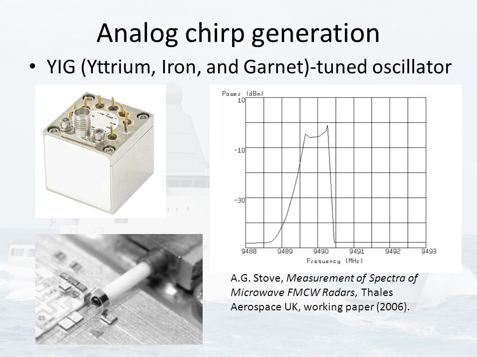 Analog chirp generation YIG (Yttrium, Iron, and Garnet)-tuned oscillator A.G. Stove, Measurement of Spectra of Microwave FMCW Radars, Thales Aerospace