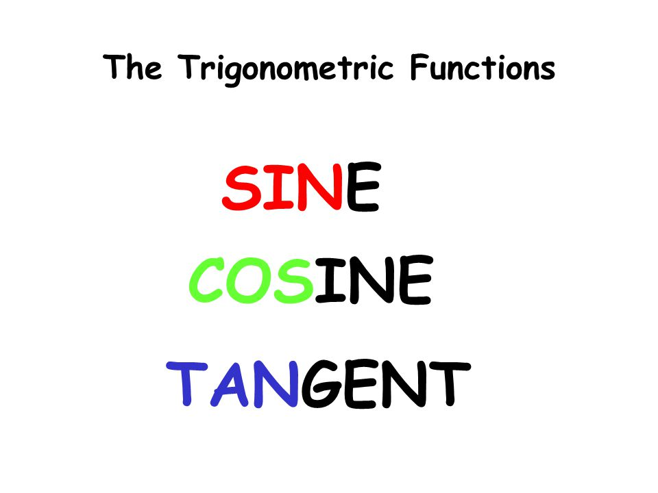 Find the sine, the cosine, and the tangent of angle A.