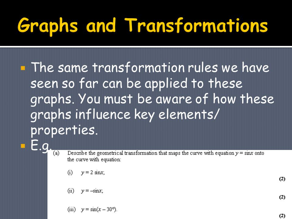  The same transformation rules we have seen so far can be applied to these graphs.