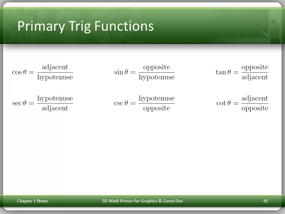 Primary Trig Functions Chapter 1 Notes3D Math Primer for Graphics & Game Dev41