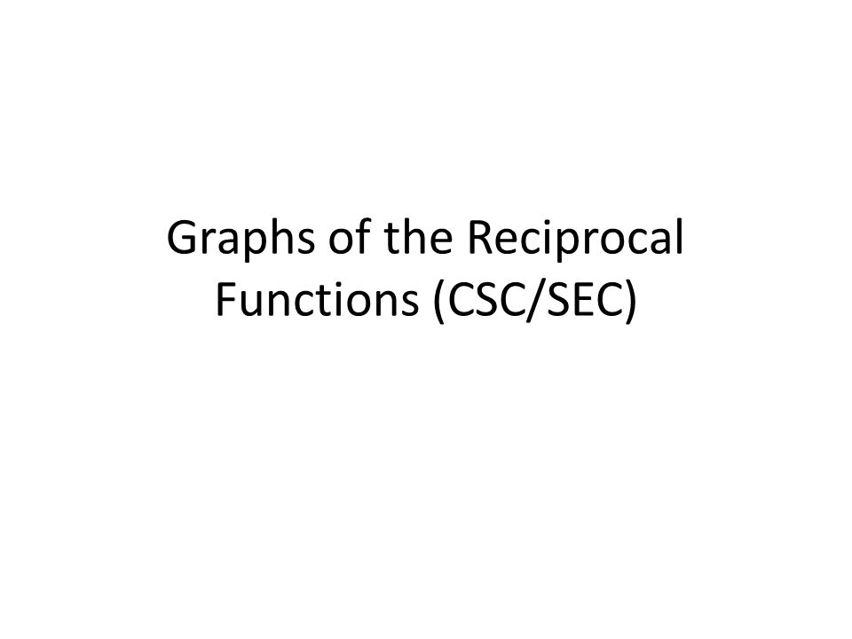 Graphs of the Reciprocal Functions (CSC/SEC)