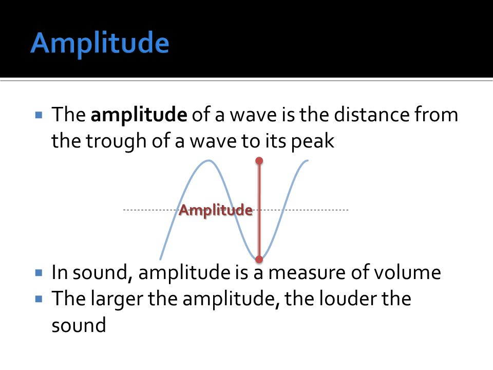  The amplitude of a wave is the distance from the trough of a wave to its peak  In sound, amplitude is a measure of volume  The larger the amplitude, the louder the sound Amplitude