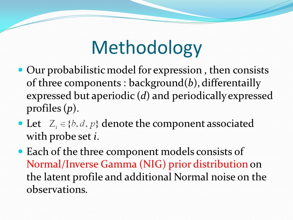 Methodology Our probabilistic model for expression, then consists of three components : background(b), differentailly expressed but aperiodic (d) and periodically expressed profiles (p).